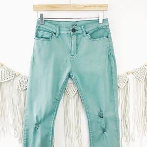 BDG High Rise Aqua Distressed Skinny Ankle Jeans
